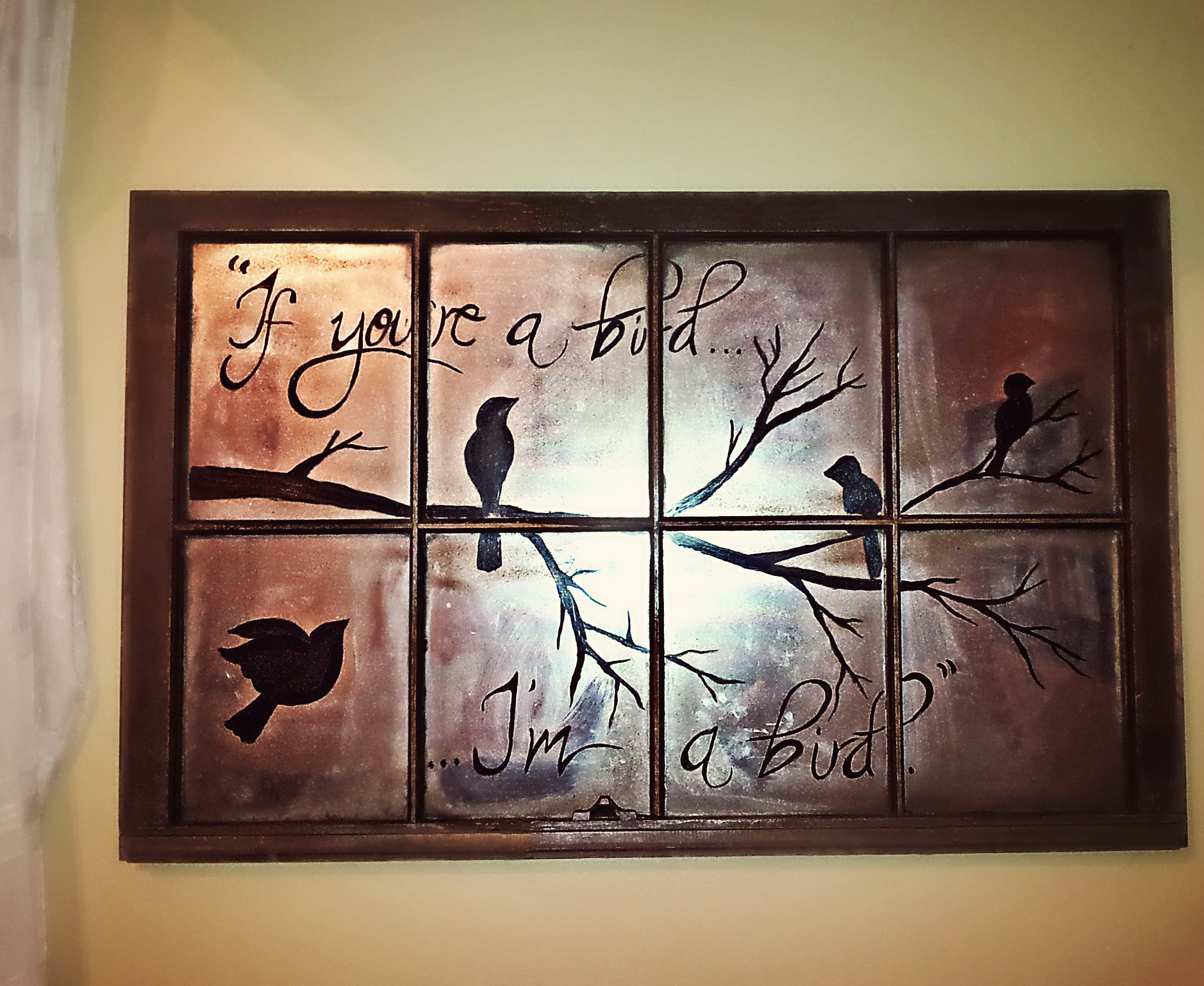 Upcycle old windows to get the image allow paint to dry on back simply use acrylic paints to paint design on the front if you are not confident in free hand you can use a jeuxipadfo Gallery
