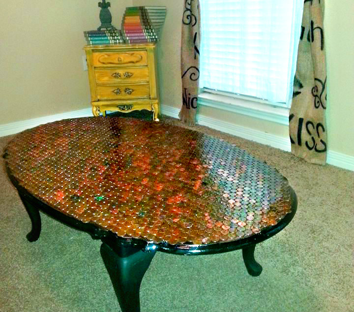 Copper top penny coffee table diy mommy moonblossom coffeetable solutioingenieria